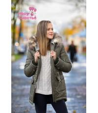 """Куртка зимняя """"Парка-мех"""" хаки для беременных и слингоношения"""