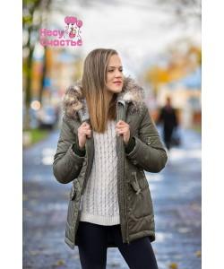 """Куртка зимняя """"Парка-мех"""" хаки для беременных и слингоношения-одежда для беременных"""