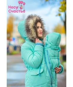"""Куртка зимняя """"Парка-мех"""" ментол  для беременных и слингоношения - куртка для беременных"""