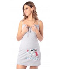 Сорочка для беременных и кормящих мам, меланж серый