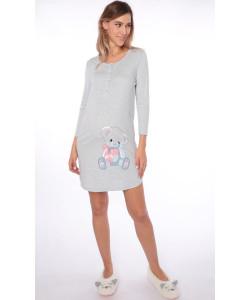 Сорочка для беременных и кормящих мам, меланж голубой