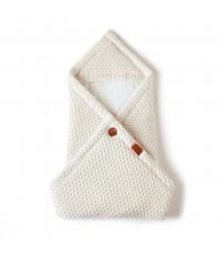 Вязаный конверт - плед для новорожденного UNIVERSAL, кремовый