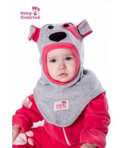 """Шлем """"Собачка"""" серо-розовая - детская одежда"""