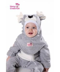 """Шлем """"Оленёнок"""" серо-белый - детская одежда"""
