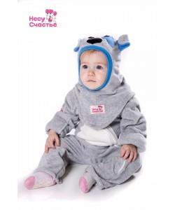 """Шлем """"Собачка"""" серо-голубая - детская одежда"""