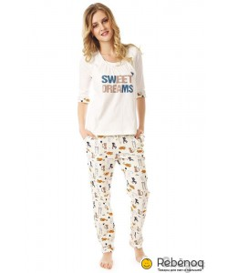 """Пижама """"Sweet dreams"""", молочный/коты-одежда для беременных и кормящих мам"""
