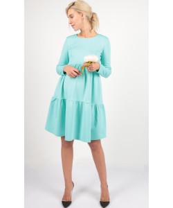 Платье с воланами ментол для беременных -одежда для будущих и кормящих мам