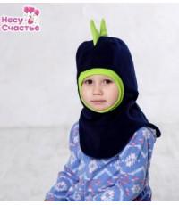 """Шлем флисовый """"Дракоша"""" сине-зеленый"""