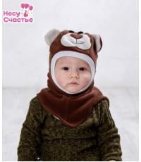"""Шлем флисовый """"Мишка"""" коричневый"""