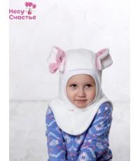 """Шлем флисовый """"Зайка"""" молочный с бантиком"""