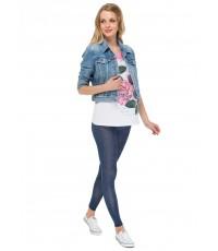 Леггинсы  синий джинс для беременных