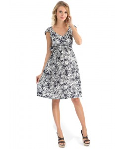 """Платье для беременных """"Перла"""" синее с белыми цветами- одежда для будущих и кормящих мам"""
