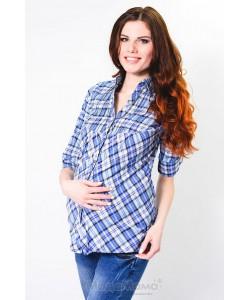 Рубашка Голуб/клетка -одежда для беременных