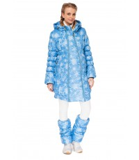 "Куртка 2в1 зимн. ""Юта"" снежинки на бирюзе для беременных"