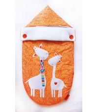 Конверт на выписку жирафы, оранжевый