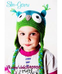 """Шапочка """"Сова"""" зелёно-голубая - детская одежда"""