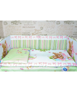 Комплект в кроватку МИШКА со съемными чехлами - все в кроватку