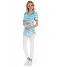 """Футболка """"Фиджи"""" с голубой полосой для беременных и кормящих"""