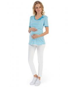 """Футболка """"Фиджи"""" с голубой полосой для беременных и кормящих-Футболка для беременных"""