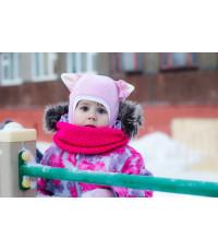 """Шлем флисовый """"Киска"""" розовый"""