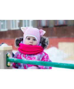 """Шлем флисовый """"Киска"""" розовый - детская одежда"""
