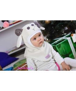 Шлем флисовый Овечка молочный - детская одежда