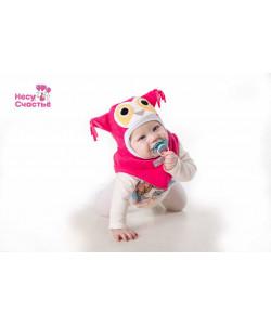 Шлем флисовый Совенок коралл - детская одежда