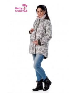 Куртка Парка-ветровка белая принт - одежда для беременных