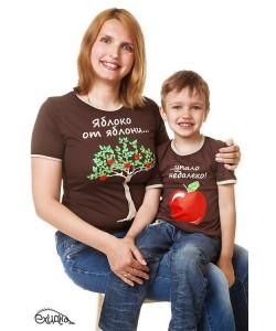 Комплект футболок ЯБЛОКО ОТ ЯБЛОНИ... (женская+детская) - футболки