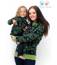"""Джемпер """"Френки"""" орнамент зеленый для беременных и кормящих"""