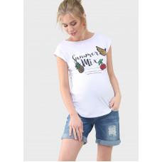 """Футболка """"Кристина"""" для беременных; цвет: белый/патчи"""