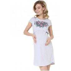"""Ночная сорочка """"Медина"""" для беременных и кормящих; цвет: серый меланж"""