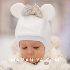 Шлем флисовый Микки молочный + бант