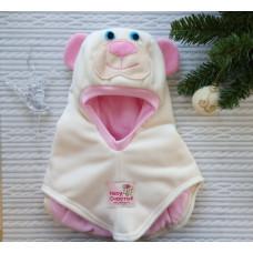Шлем флисовый Мишка молочно-розовый