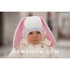Шлем флисовый Зайка молочно-розовый