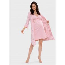 """Комплект в роддом (сорочка, халат) для беременных и кормления """"Айрис""""; пудровый"""