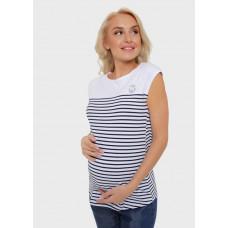 """Полосатая футболка для беременных """"Герда"""" белая"""