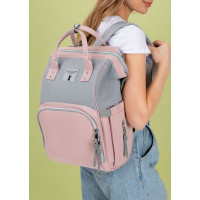 """Сумка-рюкзак для мам """"Mummy bag"""" ; серо-розовый"""