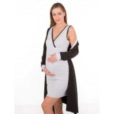 Комплект для беременных и кормящих из хлопка: халат и сорочка, горох черный