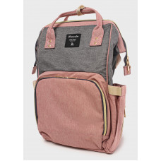 Рюкзак для мам с USB портом, серо-розовый