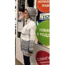 """Куртка 3 в 1 """"Парка"""" черно-белый орнамент для беременных"""