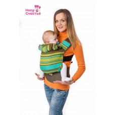 Слинг-рюкзак Ellevill Zara Tricolor Green - шарфовая ткань!