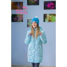 """Куртка для беременных """"Парка"""" зимн. снежинки голубые"""