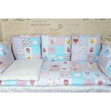 Комплект в кроватку с подушками ГОРОХ