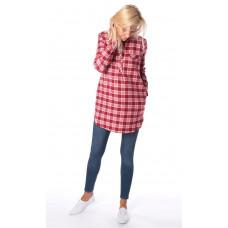 Рубашка для беременных клетка красная
