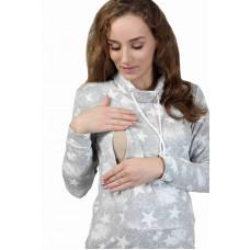 Туника - Звёзды серый меланж для беременных и кормящих